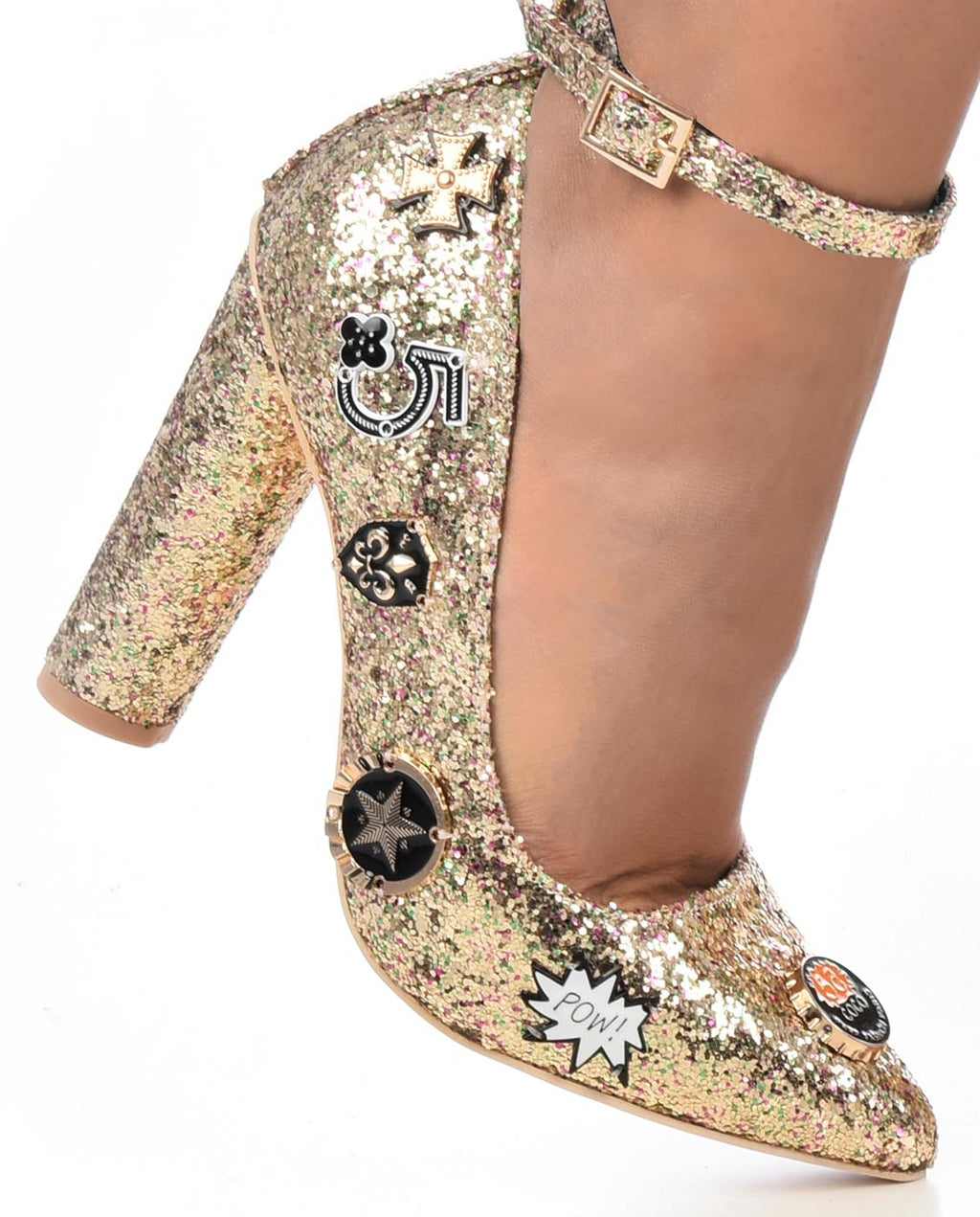 Glittery Ankle Strap Pumps - Fashion You Up