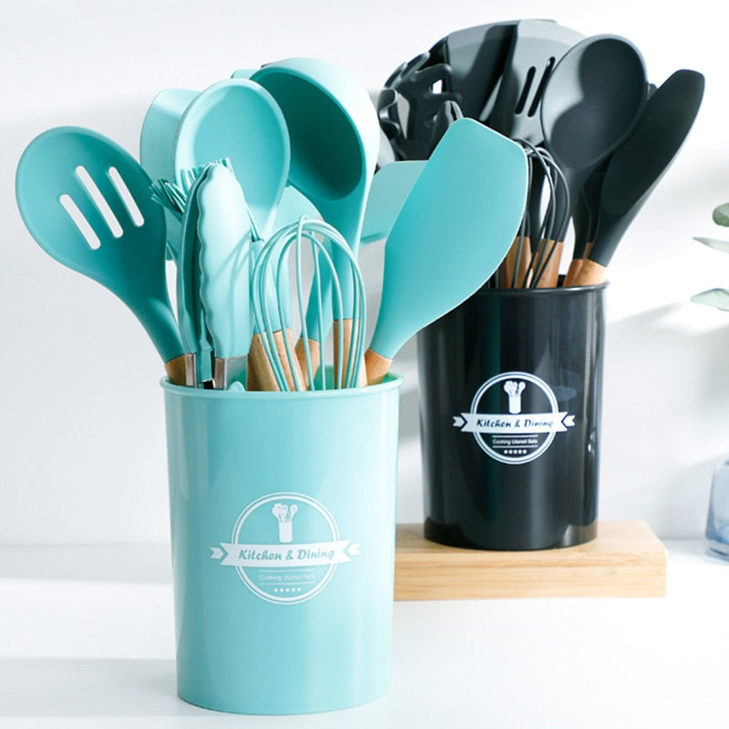 9-13PCS Silicone Cooking Tools Kitchen Utensils Set Accessories With Storage Box Tong Spatula with Wood Handle Nonstick Cookware