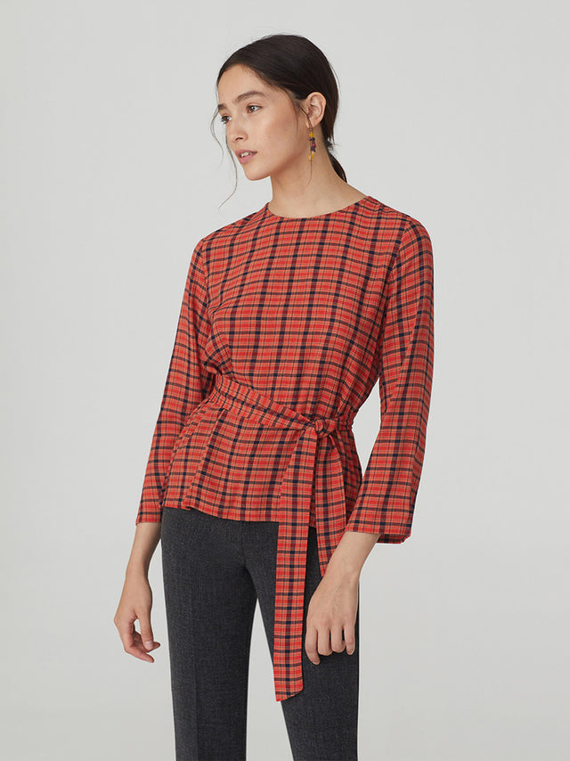 Belted Alphabet Checks Crepe Top