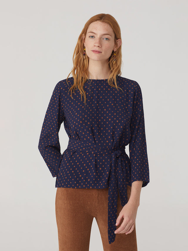 Dot Print Belted Top