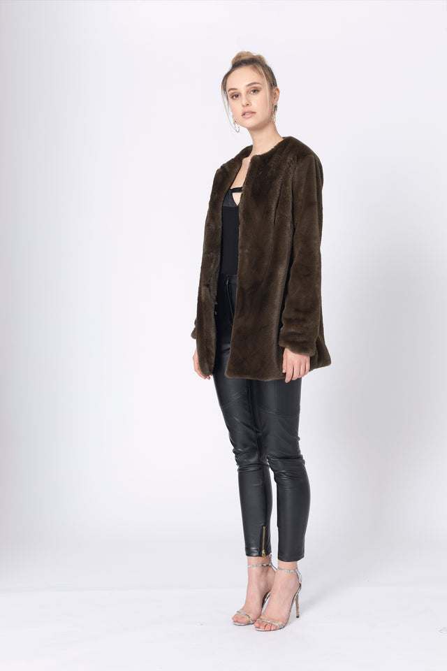 Khaki Wonderer Fur Jacket