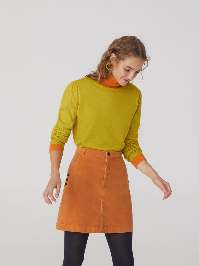 Microcorduroy Short Skirt