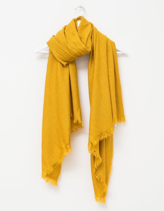 Mustard With Silver Thread Scarf