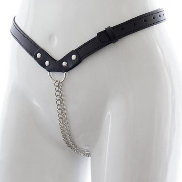Chain G-String Thong with Black Vegan Leather - Clothing - BDSM Collar Store