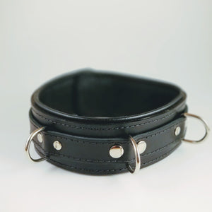 Genuine Black Leather Collar with Three Layers of Leather, Locking, Triple Heavy D Ring, 2.5 Inch - BDSM Collar Store