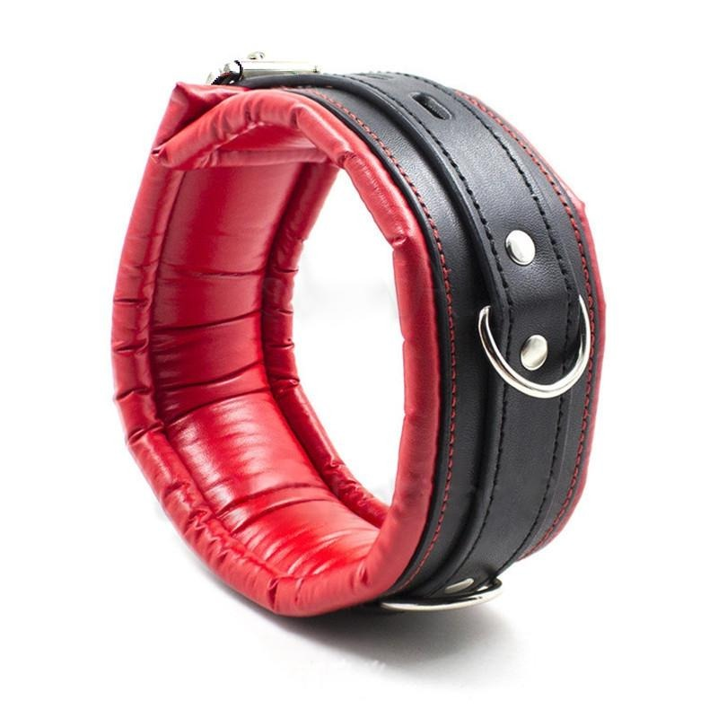 Black and Red Padded Vegan Leather Locking Collar With Leash - Collar - BDSM Collar Store