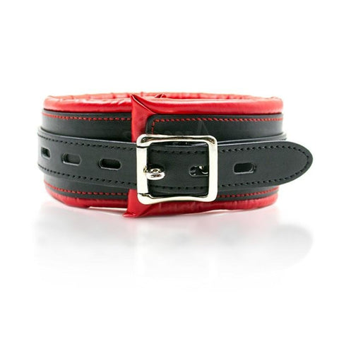 Image of Black and Red Padded Vegan Leather Locking Collar With Leash - Collar - BDSM Collar Store
