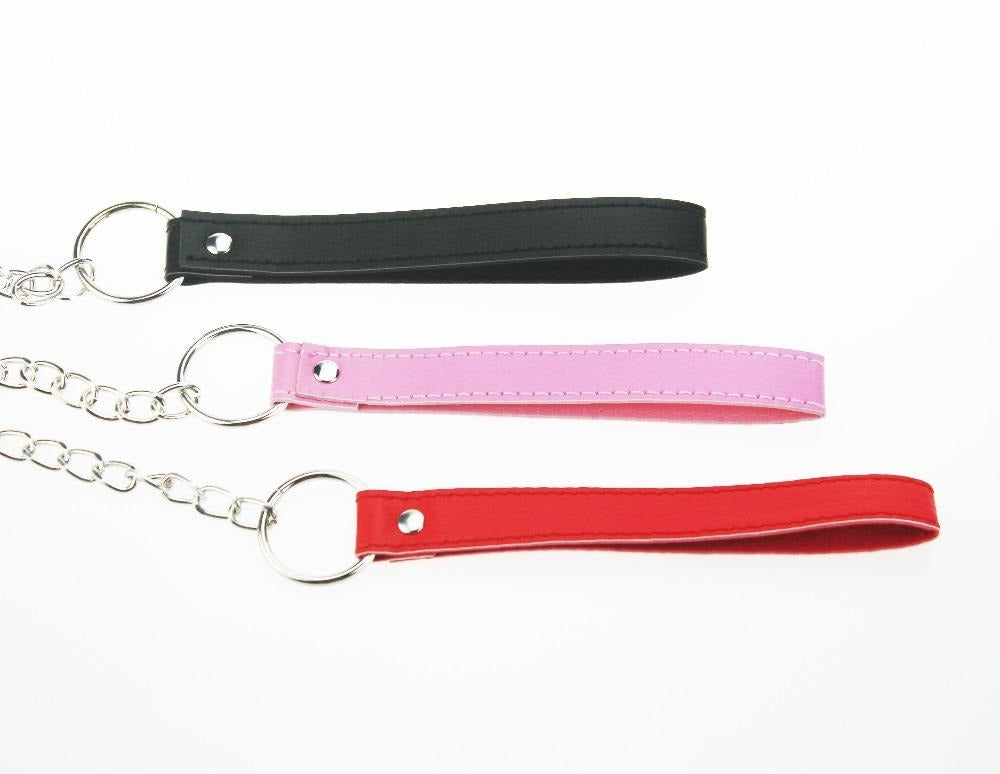 Leash, Vegan Leather and Chain, Red, Black, Pink, White - Accessories - BDSM Collar Store