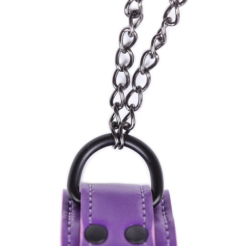 Vegan Leather Collar Purple with Nipple Clamps - Nipple Clamp - BDSM Collar Store