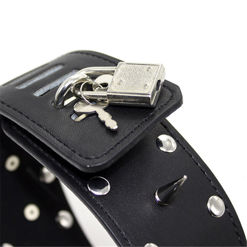 Tall Locking Collar with Leash, Vegan Leather, Spikes and Studs with Lock - Collar - BDSM Collar Store