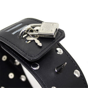 Tall Locking Collar with Leash, Vegan Leather, Spikes and Studs with Lock