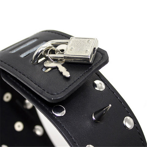 Image of Tall Locking Collar with Leash, Vegan Leather, Spikes and Studs with Lock - Collar - BDSM Collar Store