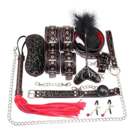 Play Kit 16 Piece 3 Patterned Colors Fur Lined Vegan Leather Collar Cuffs Gag Whip Mask Cross Buckle Rope Nip Clamps Paddle Tickler - Cuffs - BDSM Collar Store