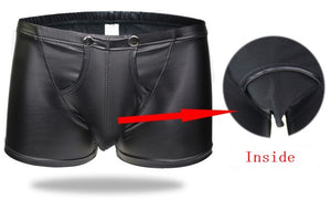 Men's Bulge Pouch Boxer Briefs, Black Vegan Leather