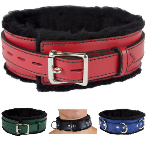 Image of Genuine Leather Collar with Soft Faux Fur Locking Triple Heavy D Ring 4 Colors - Collar - BDSM Collar Store
