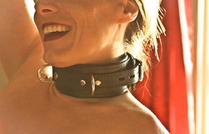 Genuine Black Leather Collar with Three Layers of Leather, Locking, Triple Heavy D Ring, 2.5 Inch