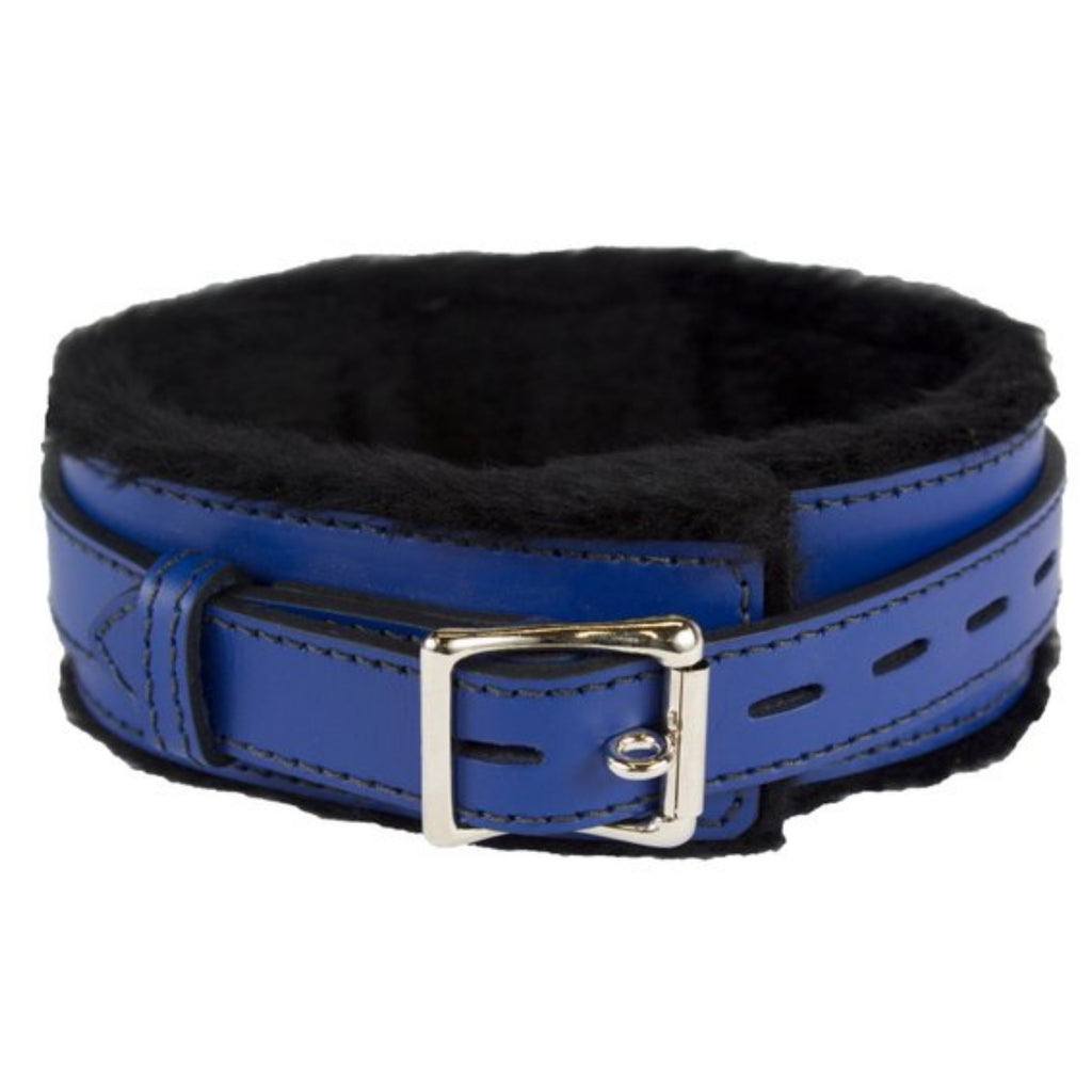 Genuine Blue Leather Collar with Soft Black Faux Fur, Locking, Triple Heavy D Ring - Collar - BDSM Collar Store