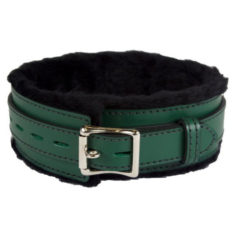 Genuine Green Leather Collar with Soft Black Faux Fur, Locking, Triple Heavy D Ring - BDSM Collar Store