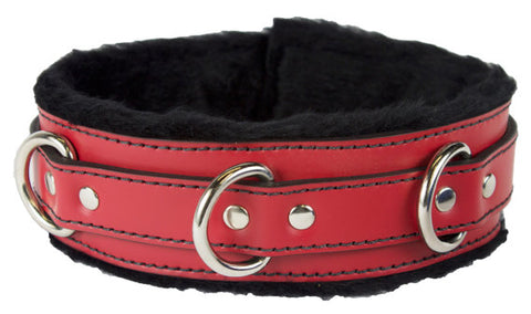 Genuine Leather Collar with Soft Faux Fur Locking Triple Heavy D Ring 4 Colors - Collar - BDSM Collar Store