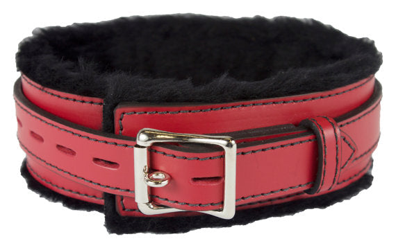 Genuine Leather Collar with Soft Faux Fur Locking Triple Heavy D Ring 4 Colors - BDSM Collar Store