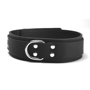 Genuine Lightweight Black Leather Collar, Lined, D-Ring, 1.5 Inch