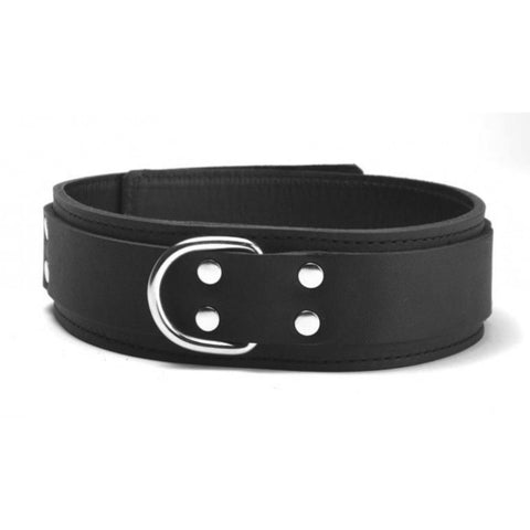Image of Genuine Lightweight Black Leather Collar, Lined, D-Ring, 1.5 Inch - Collar - BDSM Collar Store