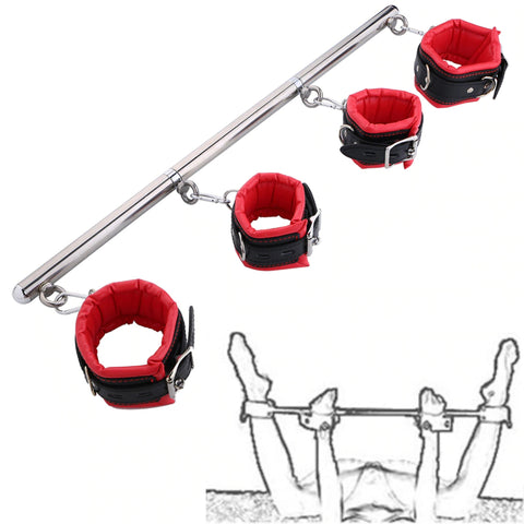 Image of Spreader Bar, 4 Padded Cuffs, Vegan Leather and Metal, Red or Black, Mix and Match 19.99 - 49.99 - Cuffs - BDSM Collar Store