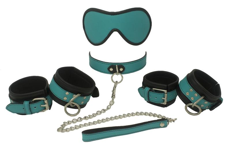 Genuine Leather Beginner Kit 12 Colors, Collar Wrist Cuffs Ankle Cuffs Blindfold Leash - Cuffs - BDSM Collar Store