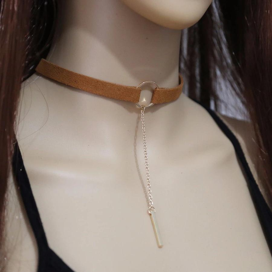 Day Collar, Ownership Ring with Pendant on Long Chain, Cloth Choker, 4 Color Combinations - Day Collar - BDSM Collar Store