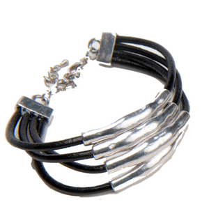 Cara Day Collar and Matching Bracelet, Genuine Black Leather, Tibetan Silver, Necklace and Bracelet