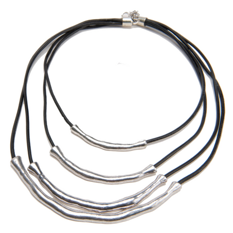 Image of Cara Day Collar Genuine Black Leather Tibetan Silver Necklace - Day Collar - BDSM Collar Store