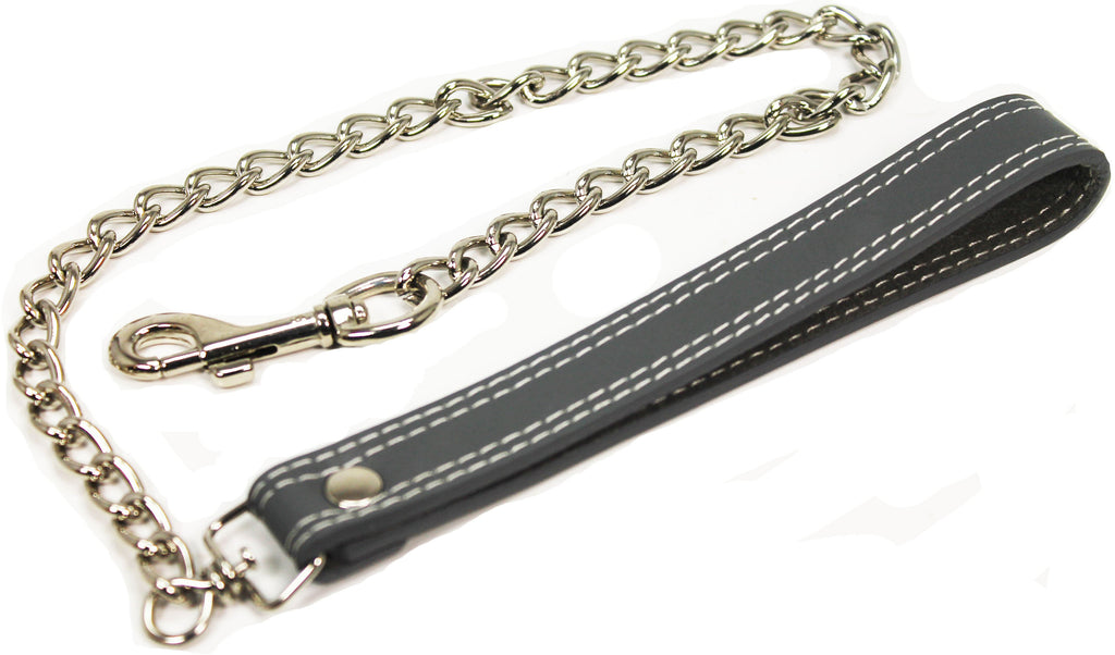 Leash, Genuine Leather, 24 inch with Chain, 13 Colors Available - Accessories - BDSM Collar Store
