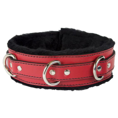 Genuine Red Leather Collar with Soft Black Faux Fur, Locking, Triple Heavy D Ring - BDSM Collar Store