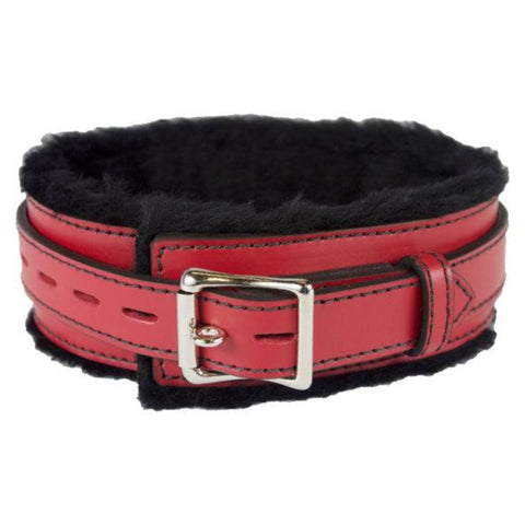 Genuine Red Leather Collar with Soft Black Faux Fur, Locking, Triple Heavy D Ring - Collar - BDSM Collar Store