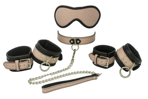 Genuine Leather Beginner Kit 12 Colors, Collar Wrist Cuffs Ankle Cuffs Blindfold Leash - BDSM Collar Store