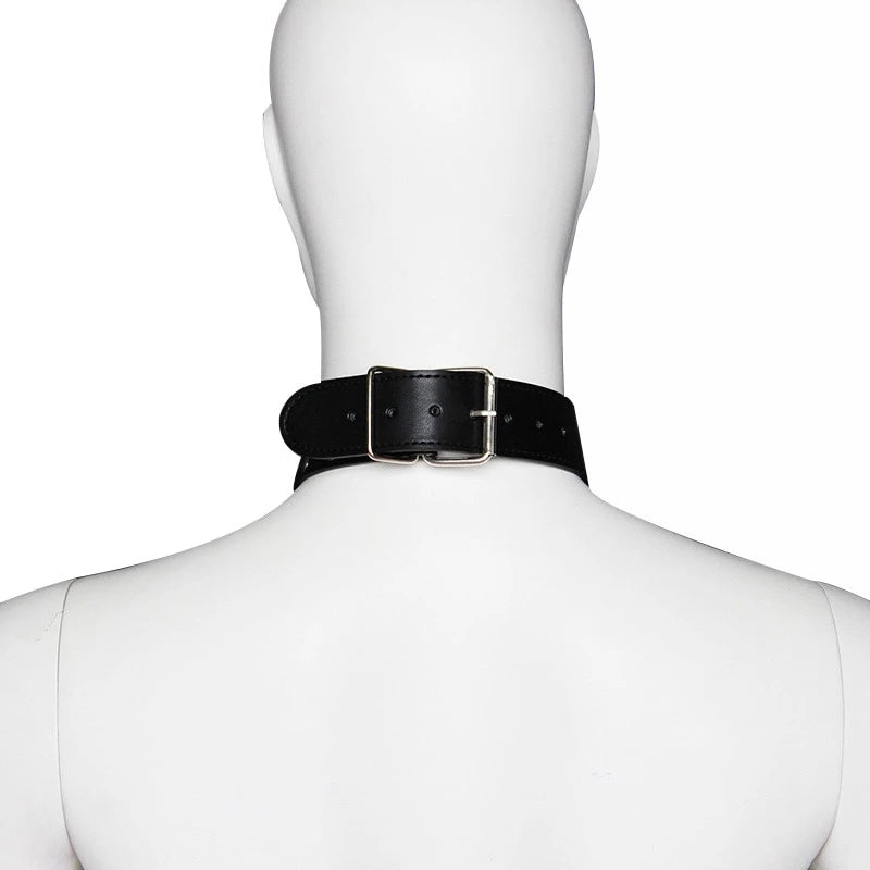 Studded Vegan Leather Collar with O-Ring and Leash -  - BDSM Collar Store