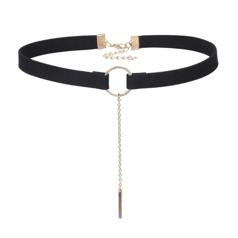 Day Collar, Ownership Ring with Pendant on Long Chain, Black or Brown Choker