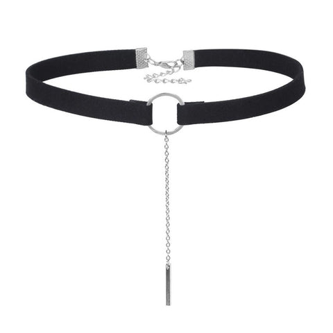 Day Collar, Ownership Ring with Pendant on Long Chain, Black or Brown Choker - Day Collar - BDSM Collar Store