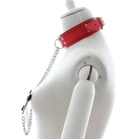 Vegan Leather Collar with Nipple Clamps Black Red or Pink - Collar - BDSM Collar Store