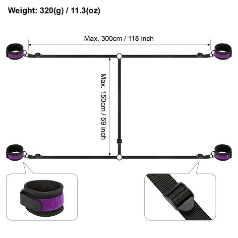 Bondage Starter Kit Wrist and Ankle Cuffs Under Bed Straps Black and Purple - Cuffs - BDSM Collar Store