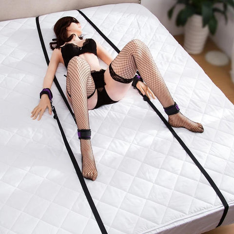 Image of Bondage Starter Kit Wrist and Ankle Cuffs Under Bed Straps Black and Purple - Cuffs - BDSM Collar Store
