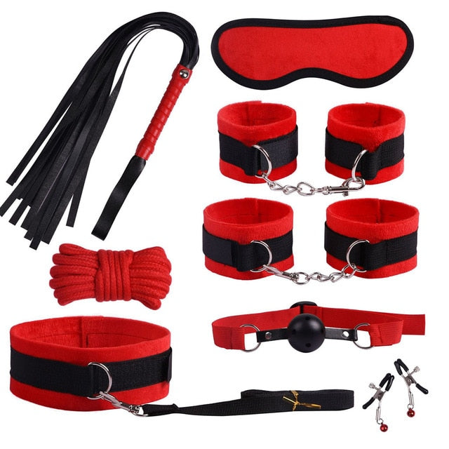 Bondage Kit 14 Piece 5 Colors Fur Lined Vegan Leather Collar Cuffs Gag Whip Mask Nipple Clamps Rope Tickler Fast Attachment - Cuffs - BDSM Collar Store