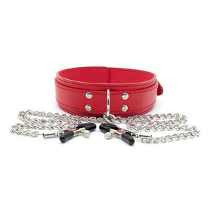 Vegan Leather Collar Red with Nipple Clamps