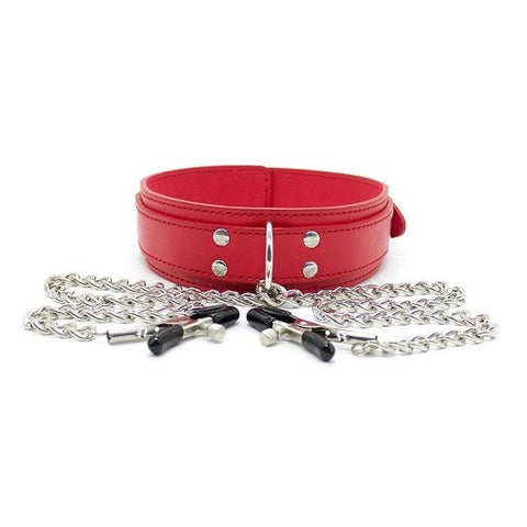 Vegan Leather Collar Red with Nipple Clamps - Collar - BDSM Collar Store