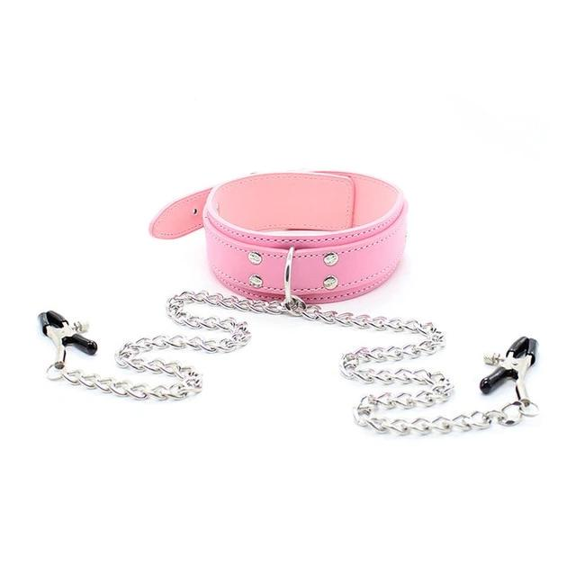 Vegan Leather Collar Pink with Nipple Clamps - Nipple Clamp - BDSM Collar Store