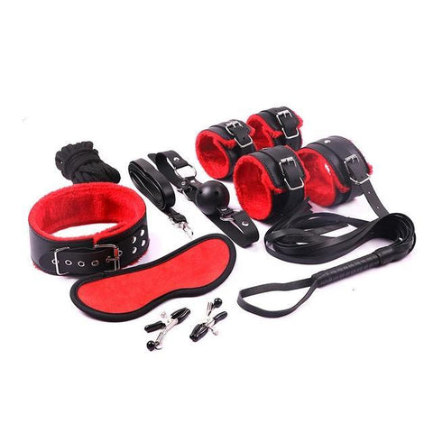 Bondage Kit 12 Piece 6 Colors Fur Lined Vegan Leather Collar Cuffs Gag Whip Mask Nipple Clamps Rope - Cuffs - BDSM Collar Store