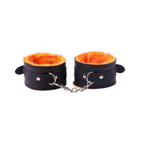 Bondage Kit 13 Piece 6 Colors Fur Lined Vegan Leather Collar Cuffs Gag Whip Mask Nipple Clamps Rope Tickler - Cuffs - BDSM Collar Store