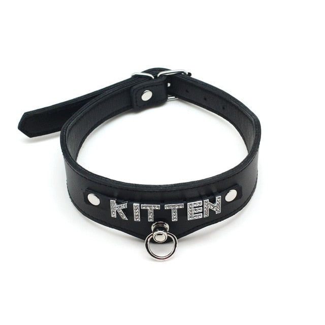 Vegan Leather ID Collar, Sexy, Slut, Slave, Submissive, Kitten, etc - Collar - BDSM Collar Store