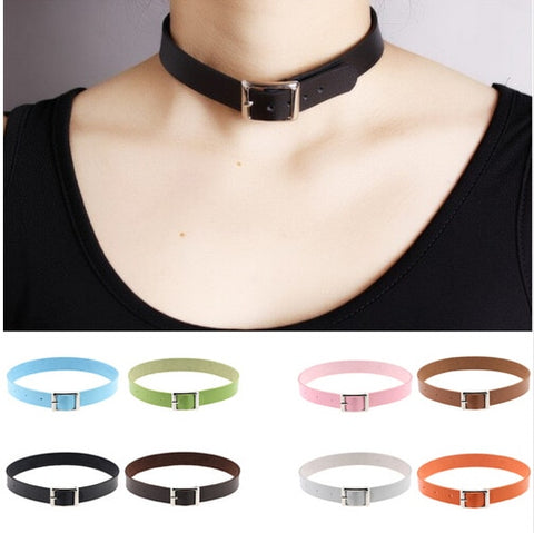 Belt Buckle Vegan Leather Day Collar 11 Colors - Day Collar - BDSM Collar Store