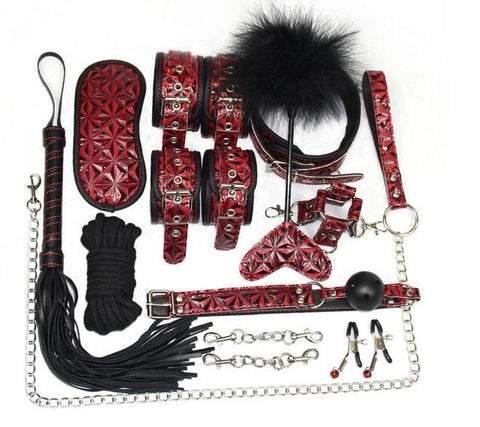 Image of Bondage Kit 16 Piece 3 Patterned Colors Fur Lined Vegan Leather Collar Cuffs Gag Whip Mask Cross Buckle Rope Nipple Clamps Paddle Tickler - Cuffs - BDSM Collar Store